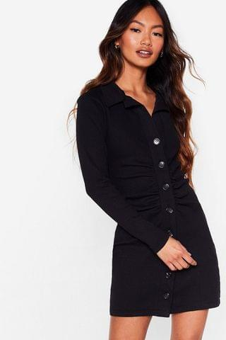 WOMEN Button Down Gathered Front Mini Dress