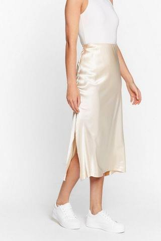 WOMEN High Waisted Satin Side Split Midi Skirt