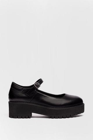 WOMEN Platform Faux Leather Mary Janes