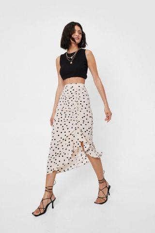 WOMEN High Waisted Spotty Ruched Midi Skirt