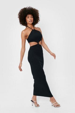WOMEN Ribbed Cut Out Halter Maxi Dress