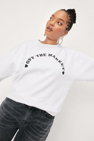 WOMEN Plus Size Off The Market Slogan Sweat