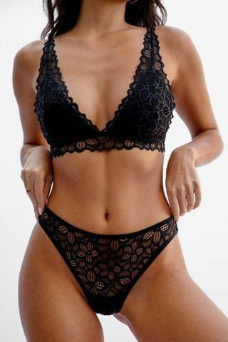 WOMEN Lace Stick Together Lace Bralette and Panty Set