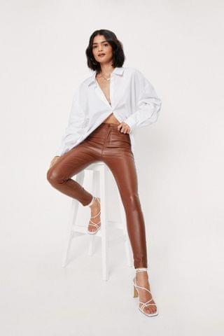 WOMEN Faux Leather High Waisted Skinny Pants