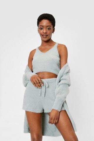 WOMEN Fluffy Knit Top Cardigan and Shorts Lounge Set