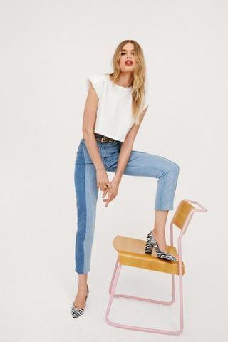 WOMEN Two Tone Side Seam Straight Leg Jeans