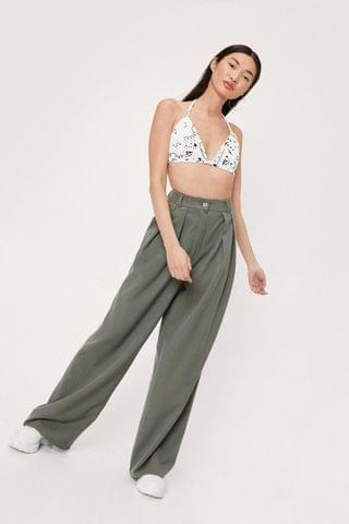 WOMEN Buckle Detail Pleated Wide Leg Trouser
