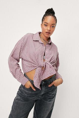 WOMEN Plus Size Check Shirt