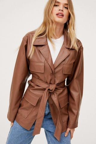 WOMEN Oversized Belted Faux Leather Jacket