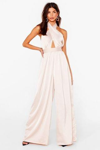 WOMEN Satin Halter Neck Wide Leg Jumpsuit