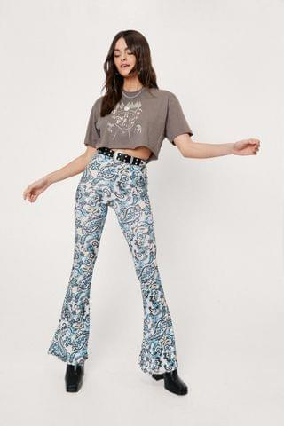 WOMEN Paisley Print High Waisted Flare Pants