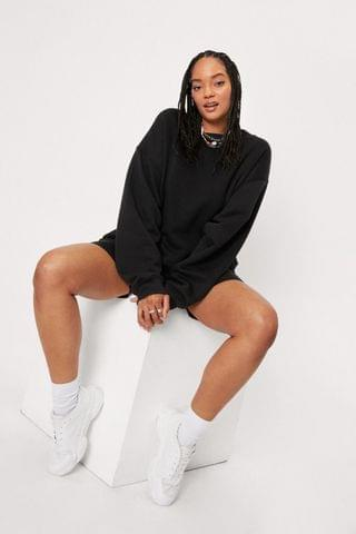 WOMEN Plus Size Sweatshirt and Biker Shorts Set