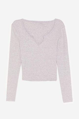 WOMEN V Neck Long Sleeve Crop Top