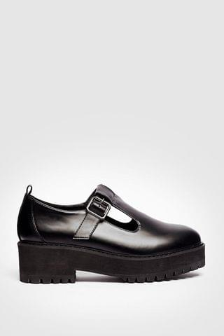 WOMEN Faux Leather Cleated T Bar Mary Janes