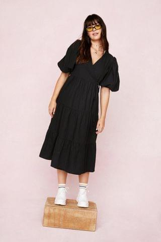 WOMEN Plus Size Puff Sleeve Wrap Smock Midi Dress