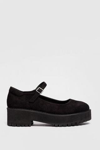 WOMEN Faux Suede Strappy Platform Mary Janes