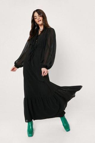 WOMEN Chiffon Lace Up Front Balloon Sleeve Maxi Dress