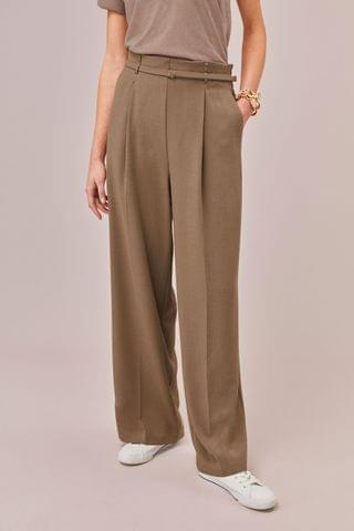 WOMEN Camel Wide Leg Trousers