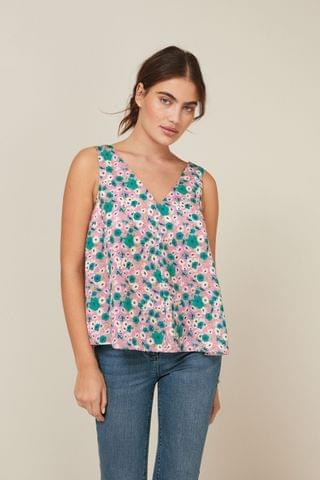 WOMEN Pink Floral Satin V-Neck Cami Top