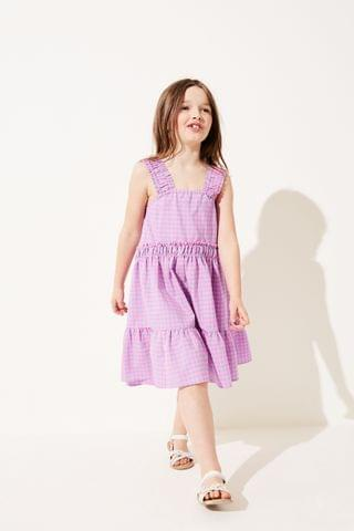 KIDS Pink/Blue Gingham Ruched Strap Tiered Dress (3-16yrs)