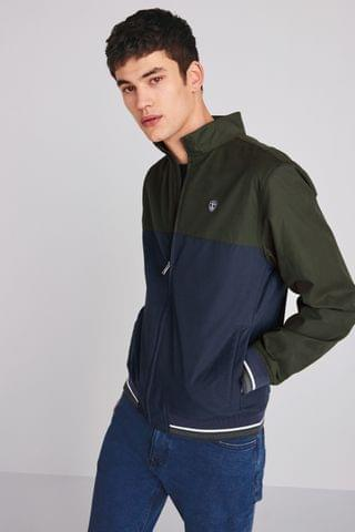 MEN Khaki/Navy Shower Resistant Colourblock Funnel Jacket With Tipping