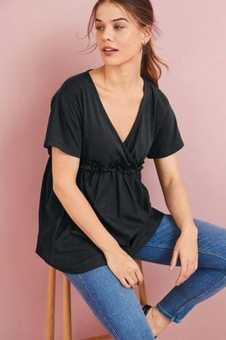 WOMEN Black Maternity/Nursing Fabric Mix Wrap Top