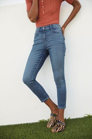 WOMEN Mid Blue Super Soft Elasticated Waist Cropped Skinny Jeans