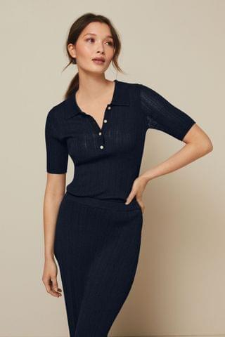 WOMEN Navy Pleated Polo Top