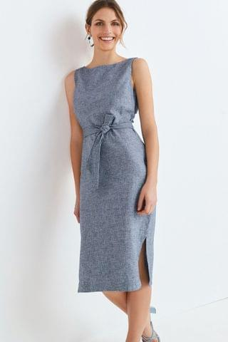 WOMEN Navy Marl Linen Blend Belted Dress