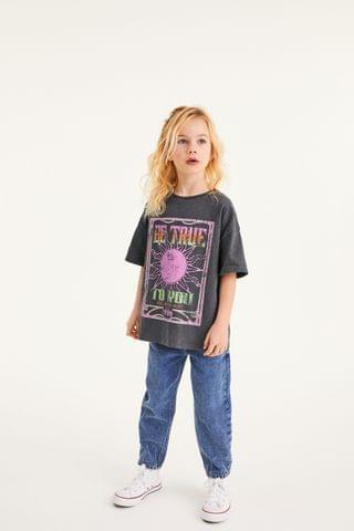 KIDS Charcoal Oversized Celestial Graphic T-Shirt (3-16yrs)