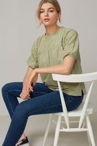 WOMEN Khaki Short Sleeve Broderie Top