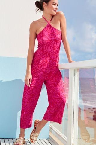WOMEN Pink Animal Culotte Jumpsuit