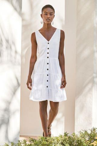 WOMEN White Tiered Viscose/Linen Look Mini Dress