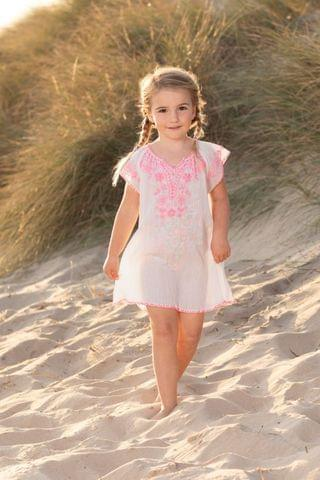 KIDS Trotters London Pink Embroidered Beach Dress