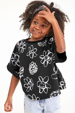 KIDS Black Mono Floral Boxy T-Shirt (3-16yrs)