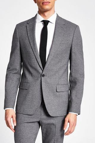 MEN River Island Grey Skinny Suit Jacket