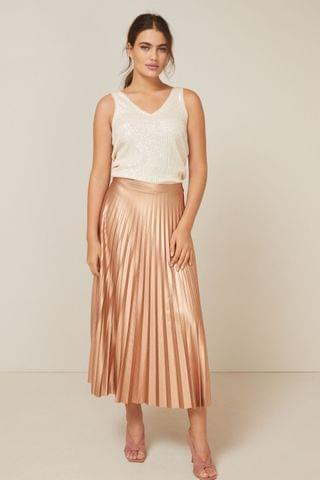 WOMEN Rose Metallic Pleat Skirt