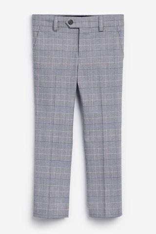 KIDS Grey And Pink Check Suit Trousers (12mths-16yrs)