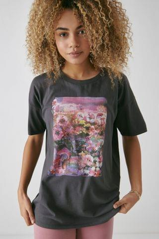 KIDS Charcoal Dark Oversized Floral Graphic T-Shirt