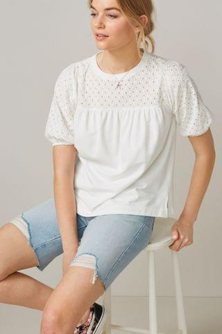 WOMEN White Short Sleeve Broderie Top