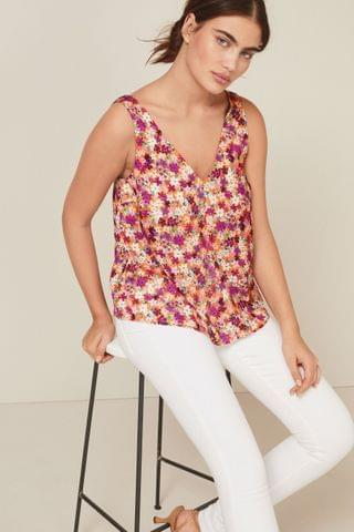 WOMEN Orange Floral Satin V-Neck Cami Top
