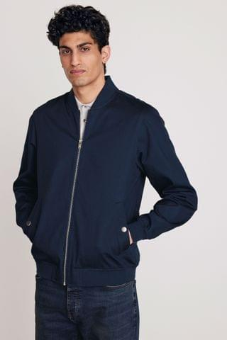 MEN Navy Smart Bomber Jacket With Printed Lining