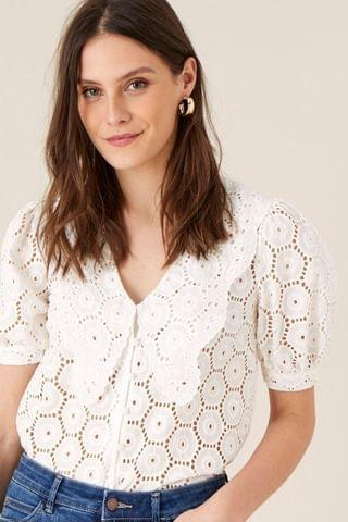 WOMEN Monsoon Natural Mia Wide Collar Broderie Blouse