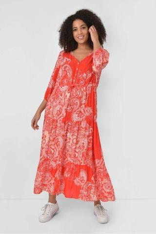 WOMEN Live Unlimited Curve Red Paisley Midi Dress