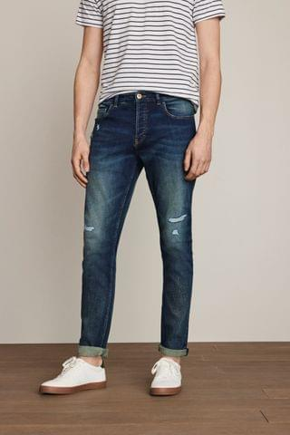 MEN Tinted Blue Ripped Jeans