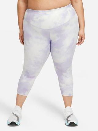 WOMEN Mid-Rise Crop Leggings (Plus Size) Nike One Icon Clash