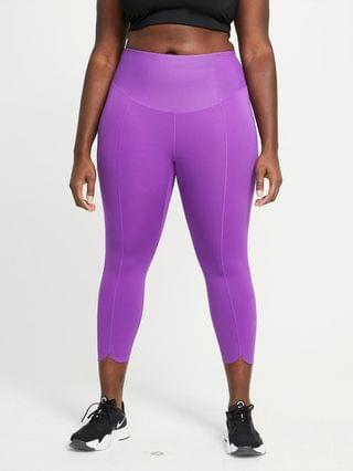 WOMEN Mid-Rise Crop Leggings (Plus Size) Nike One Luxe Icon Clash