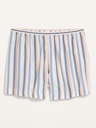 WOMEN High-Waisted Soft-Woven Plus-Size Pajama Shorts -- 5-inch inseam