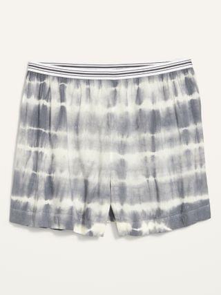 WOMEN High-Waisted Soft-Woven Pajama Shorts for Women -- 4-inch inseam