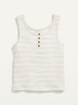 KIDS Cropped Rib-Knit Henley Tank Top for Girls